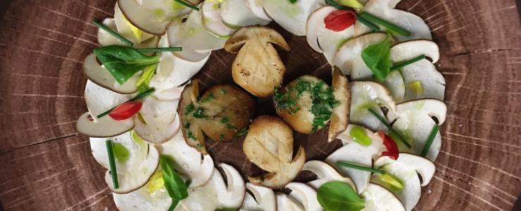 Carpaccio et cèpes rôtis, huile de persil et noisette, condiment balsamique blanc